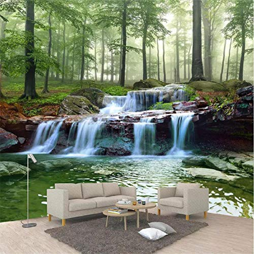 Papier Peint Panoramique 3D Tapisserie Intissé Murales poster geant photo Décoration Murale Effet Trompe Loeil 200x140cm grand bois paysage cascade forêt ruisseau