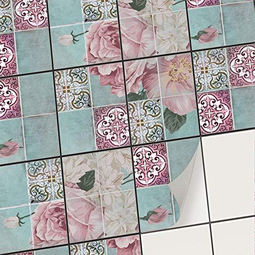 creatisto Fliesenaufkleber Fliesenfolie Mosaikfliesen - Klebe Folie für Wandfliesen I Stickerfliesen - Mosaikfliesen für Küche, Bad, WC Bordüre (15x20 cm I 18 -Teilig)