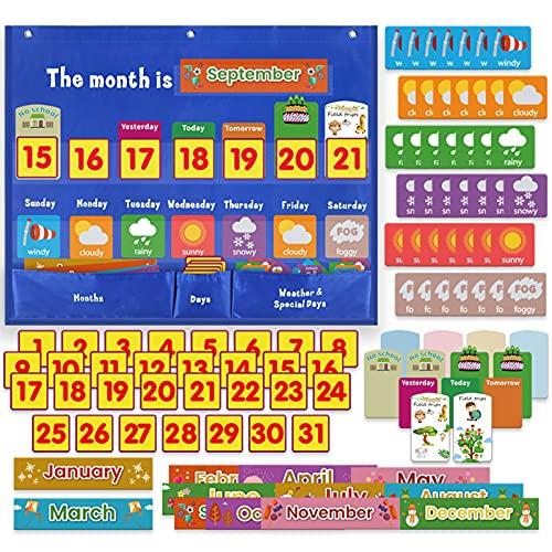 Calendario infantil educativo, mi primer calendario, juego educativo para niños, incluye 114 tarjetas de aprendizaje y estación meteorológica para niños, cuadro de bolsillo, calendario mensual