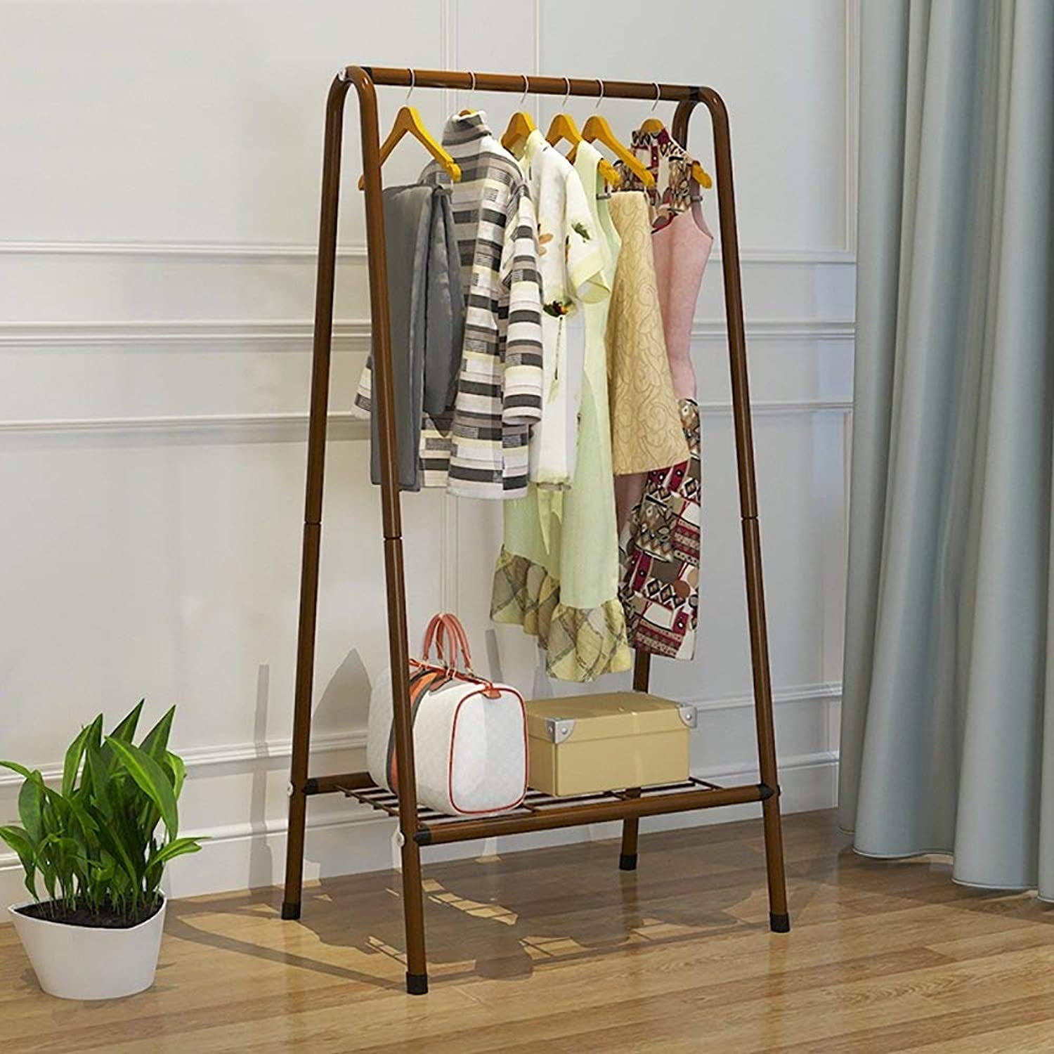 Coat Rack Steel Simple Frame Floorstanding Fashion Clothes Hanger 2 colors Optional Wall Hanger Brown 151cm Creative Movable Haiming (color   Brown, Size   151cm)