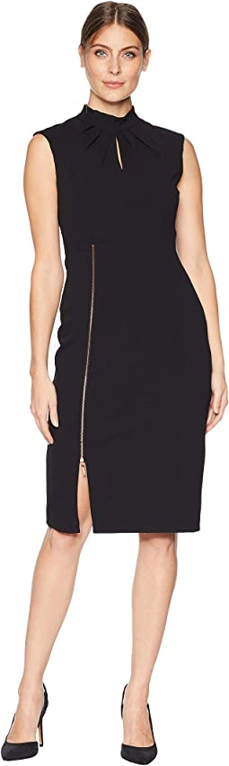 Sleeveless Scuba Crepe Dress w/ Zipper
