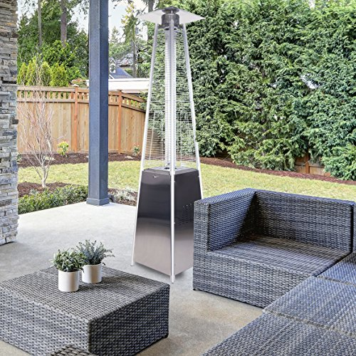 Garden Radiance GRP3500SS Dancing Flames Stainless Steel Pyramid Patio Heater