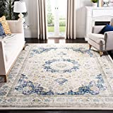 Safavieh Evoke Collection EVK220C Shabby Chic Vintage Oriental Medallion Area Rug, 8' x 10', Ivory/Blue
