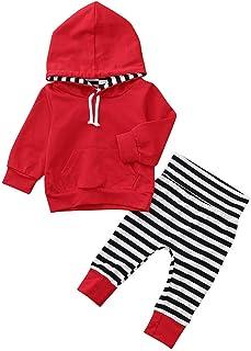 Ropa Niño Otoño Invierno Liquidación Sudaderas con Capucha Niño Manga Larga Infantil Recien Nacido Conjuntos Bebé Niño Camisetas Blusas Tops + Pantalones con Rayas