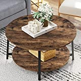 Snughome 35.4'' Round Coffee Table, 2-Tier Industrial Design Furniture Sofa Table with Storage Open Shelf and Sturdy Metal Legs for Living Room, Wooden Surface Tabletop & Rounded Edges, Rustic Brown
