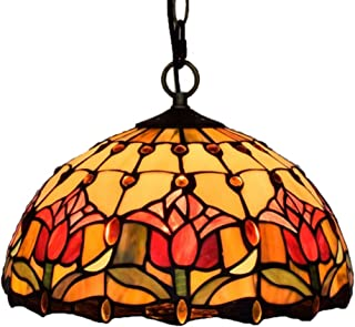Tiffany Chandelier - Handmade Ceiling Light/Eye Protection Stained Glass/Garden Red Tulip/Wrought Iron Ceiling Plate / 12 Inch Lamp E27