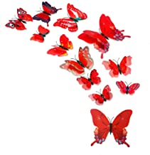 uxcell 12pcs 3D Butterfly Stickers Decal DIY Pin Type Removable Home Decor Curtain Decoration with Double Wing, Red
