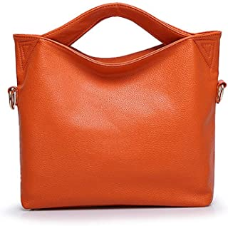 Handbags - European And American Fashion One-shoulder Diagonal Tote Bag, Large-capacity Handbag, Leather, 37 * 10 * 28 Cm Worth having (Color : Orange)