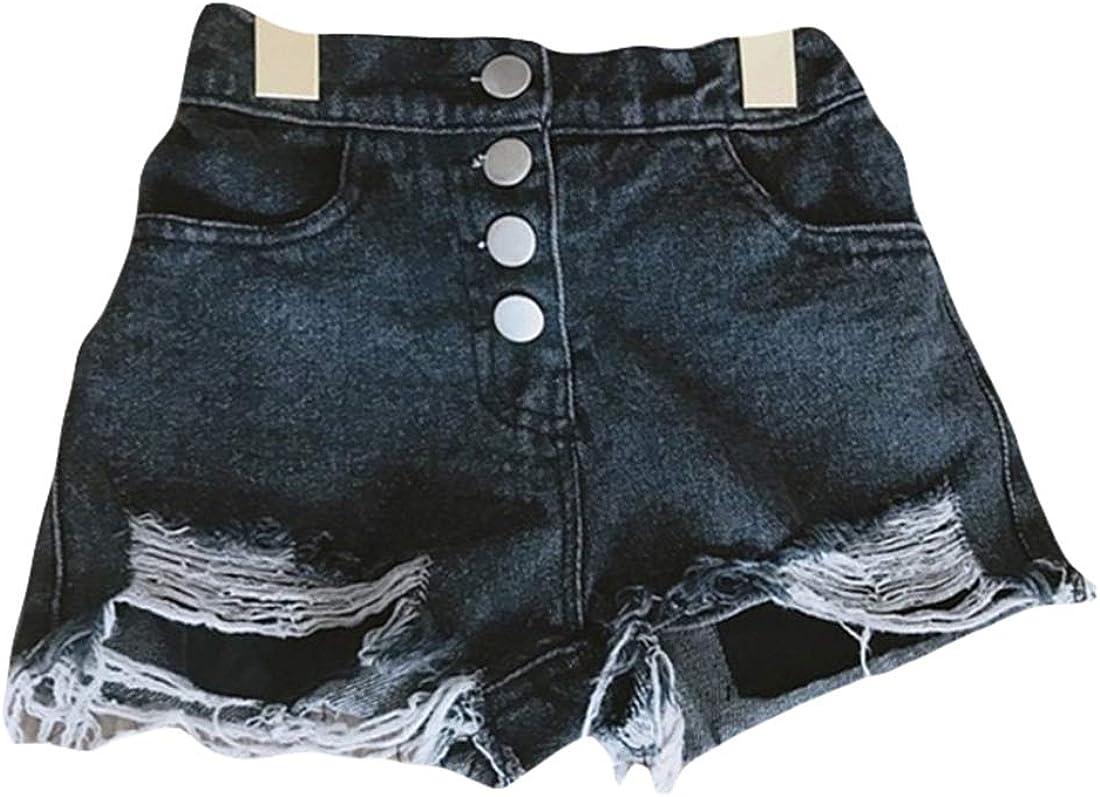 Qiribati Milwaukee Mall Baby Girls Mail order Denim Shorts Stretch Raw Je Frayed Hem Jeans