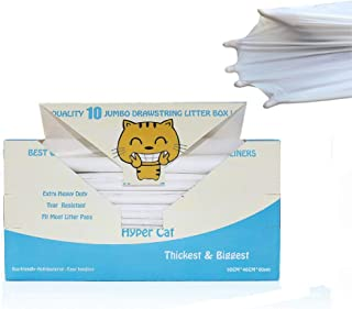 Hyper Cat Jumbo Size Cat Litter Box Liners Drawstring 10 Counts