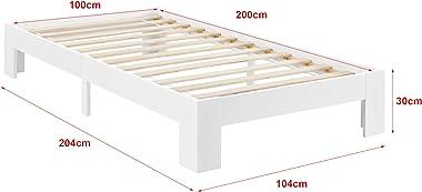 [en.casa] Cadre de Lit Solide Design Raisio à Sommier à Lattes Lit Simple Stylé à Matelas à Mousse à Froid Pin et Bois Strati