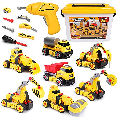 FLY2SKY 7 in 1 Take Apart Toys with Electric Drill Take Apart Truck Toys Construction Set DIY Engineering Building Toy + Lights Sounds Push & Go STEM Toy Gift for Boys Toys Age 4 3 5 6 7 8