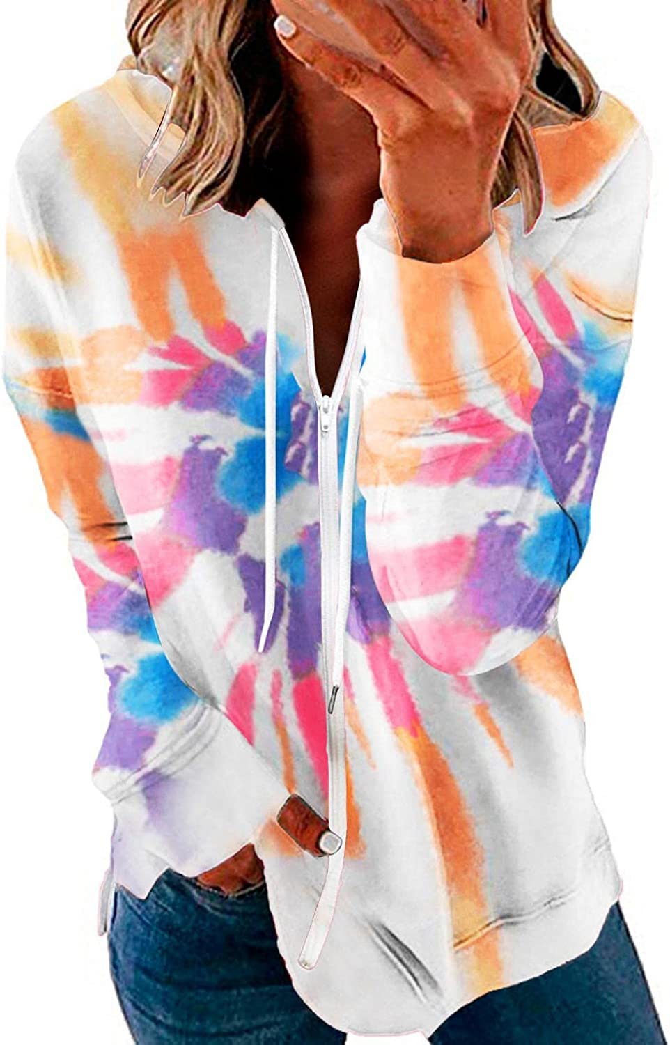 AODONG Womens Zip-Up Hoodie Long Sleeve Casual Tie-Dyed Lightweight Pullover Sweatshirt Drawstring Stretchy with Pockets