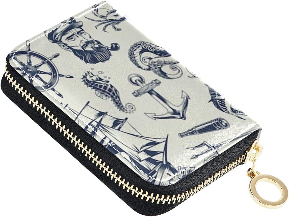 Card Wallet Vintage Monochrome Popular overseas Nautical Set Sailor Alternative dealer Sma Elements