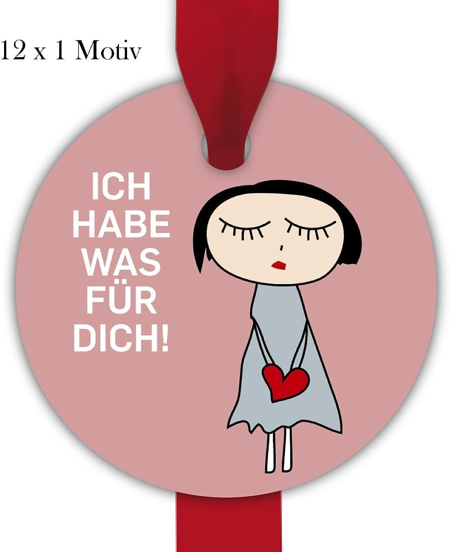 Kartenkaufrausch 10x12 herzige, runde Geschenkanhnger   Geschenkkarten   Papieranhnger   Etiketten in Kreis Form Format 6,6 x 6,6cm mit Frau mit Herz  Ich hab was für dich