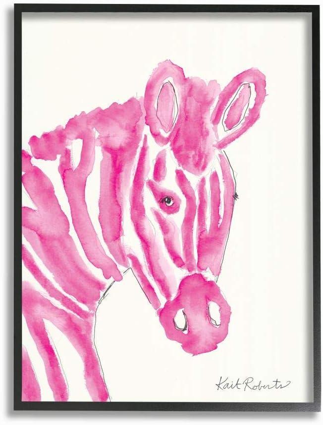 Stupell Industries Kids Watercolor Zebra Portrait Pink Stripe Zoo Animal 16 x 20 Black Framed Designed by Kait Roberts Wall Art