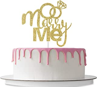 Marry Me Cake Topper with Diamond Ring, Mr & Mrs Sign Cake Decorations, Wedding & Engagement Anniversary, Bridal Shower, Proposal Supplies, Bachelorette Party, Double Sided Gold Glitter
