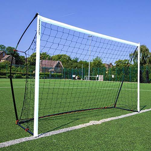 QUICKPLAY Kickster Academy Football Goal 8x5' – Ultra Portable Football Equipment includes Football Net and Carry Bag [Single Goal]