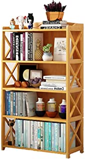 DULPLAY Bamboo Thickened Bookshelf,3-5 Tier Multipurpose Storage Rack Floor-Standing Modern Open Shelf Multi-Layer Tall Bookcase for Home or Office -H 69x25x127cm(27x10x50inch)
