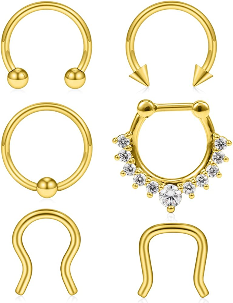 SCERRING 6-12PCS 16G 316L Stainless Steel Septum Hoop Nose Ring Horseshoe Rings Cartilage Daith Tragus Clicker Retainer Body Piercing Jewelry
