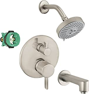 Hansgrohe KST04447-27457-13BN Raindance Shower Faucet Kit with Tub Spout PBV Trim with Diverter and Rough, Brushed Nickel