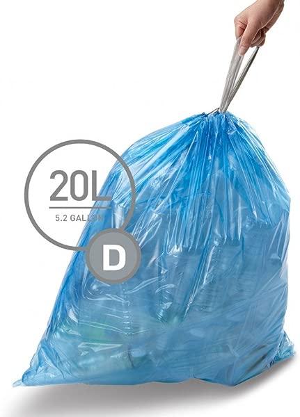 Simplehuman 代码 D 定制适合回收衬垫 3 个补充包装 60 个衬垫代码 D 回收 20L 5 2 加仑蓝色