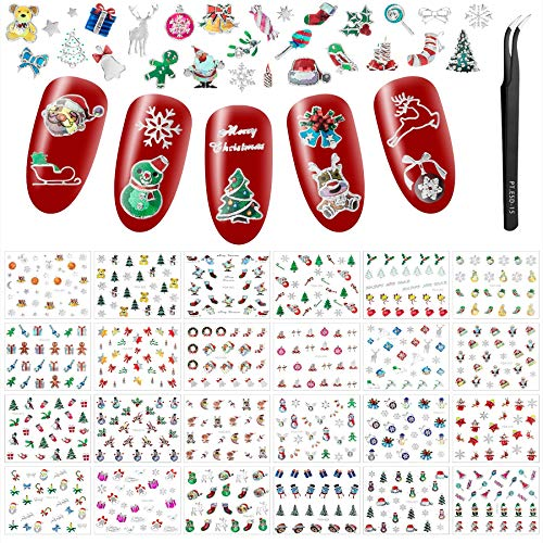 24 Sheets Christmas Laser Nail Art Stickers, Ultralight 3D Self-Adhesive Stickers Santa Claus Reindeer Snowflakes Nail Decals with Tweezers for Women Girls (Silver)
