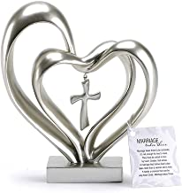 Marriage Takes Three Matte Silver Finish 13X8 inch Cross in Middle of Hearts Tabletopper
