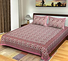 Bhagwatiudyog Block Print Cotton Double Bedsheet with Pillow Cover , King Size , Pink