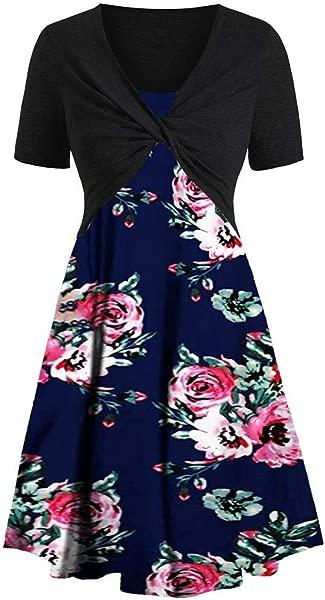 TOTOD New Dress Suits For Women Fashion Short Sleeve Bow Knot Bandage Top Boho Print Minidress