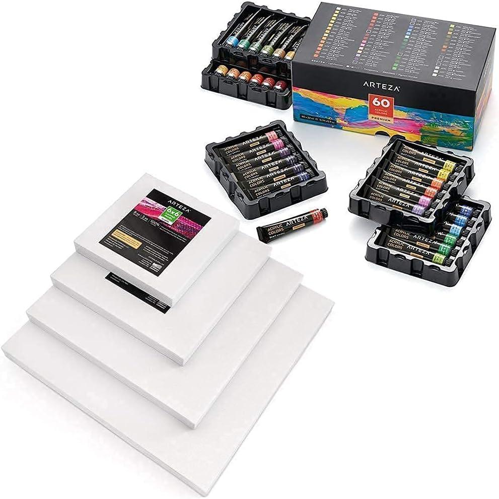 Arteza Acrylic Paint Set and Canvas Panels Pack Regular store Bombing free shipping Pa Multi Bundle