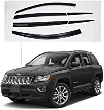 AUTOCLOVER Dark Side Window Vent Visor 6 Piece Set for Jeep Compass 2016 2017 2018 2019 / Safe RAIN Out-Channel Guard Deflector