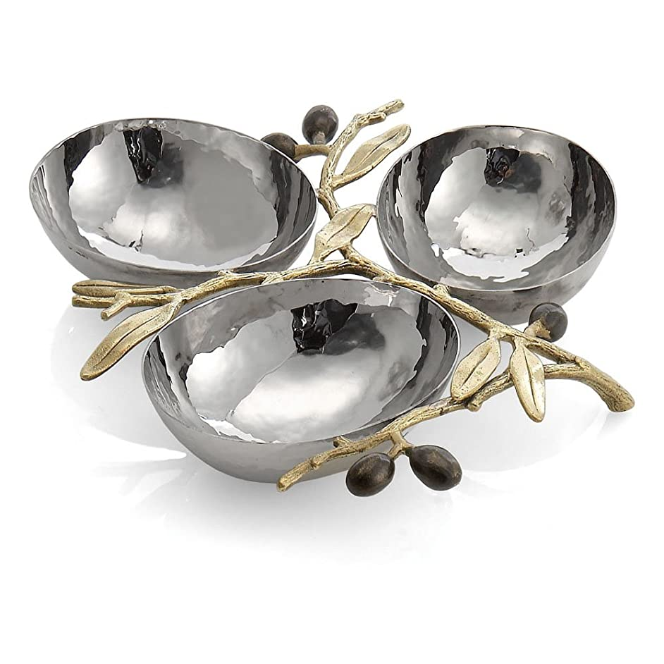 Michael Aram Olive Branch Triple Compartment Dish, Silver