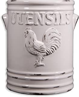 Home Essentials Rooster Utensil Crock, Ivory, 6.25L X 5.70W X 7.08H