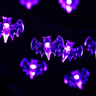 HAYATA Bat String Lights 40 LED 14ft Battery Operated Build-in Timer Halloween String Lights for Indoor, Holiday, Party, Festival, Halloween Decorations(Purple bat)
