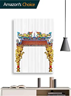 Paintings, Eastern Temple Dragon Oil Hand Painting Painting 3D Hand-Painted On Canvas Abstract, 32W x 48H Inches(No Frame)