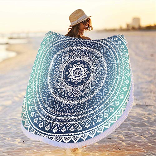 Large Round Blue Microfiber Mandala Beach Towel Blanket, Circle Thick Sand Proof Quick Dry Soft Water Absorbent Mandala Picnic...