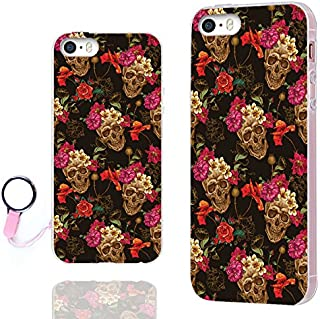 iPhone SE Case,iPhone 5s Case, iPhone 5 Case,ChiChiC Full Protective Slim Flexible Soft TPU Gel Rubber Cases Cover for iPhone 5 5S SE,Vintage Gold Skull Pink Yellow Poppy Flower Floral