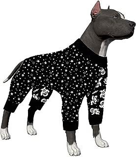 LovinPet Dog Clothes for Pitbull - Shirt Pajamas, Large Dogs, Slim fit, Lightweight Pullover Dog Pajamas, Full Coverage Dog Pajamas, Outer Space Astronaut Print