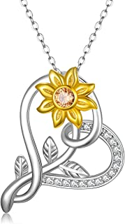 MEDWISE Sunflower Necklace Pendant Jewelry Gifts Gold Plated 925 Sterling Silver You Are My Sunshine Flower Necklace for Women Girls