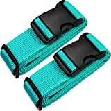 TRANVERS Luggage Straps For Suitcases Baggage Belt Heavy Duty Adjustable 2-Pack Lake Blue
