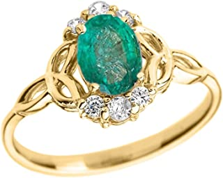 Elegant 14k Yellow Gold Diamond Trinity Knot Proposal Ring with Genuine Emerald
