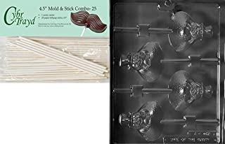 """Cybrtrayd Life of the Party 45St25-A159 Ground Hog Lolly Chocolate Candy Mold w/25 4.5-Inch Lollipop Sticks and Instructions, 3"""" x 2-3/4"""" x 5/8"""" deep, Clear"""
