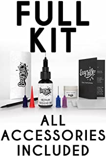 Easy.ink - Freehand Ink, Premium Quality Temporary Tattoo Ink Full Kit, Natural & Long Lasting (Organic Jagua fruit Based Ink/Gel), No Added Chemicals. Black/Dark Blue. Semi-Permanent Tattoo Ink 0.5oz