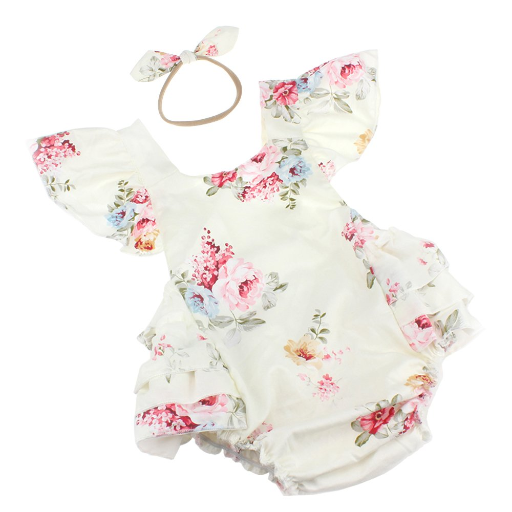 dPois Infant Baby Girls Mermaid Outfit Short Sleeves Romper with Tutu Skirt Headband 3PCS Set