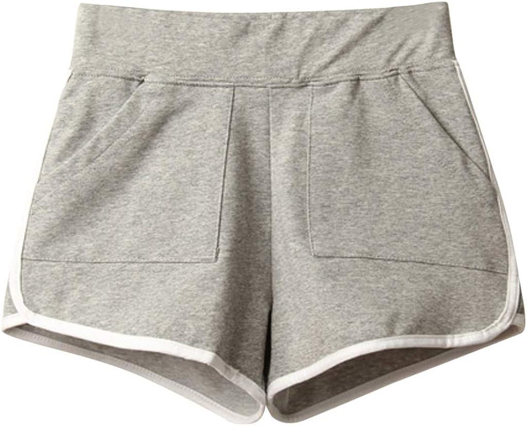 Uppada Shorts for Women Summer Casual Sport Shorts Elastic Waist Pockets Loose Comfy Beach Pants Activewear