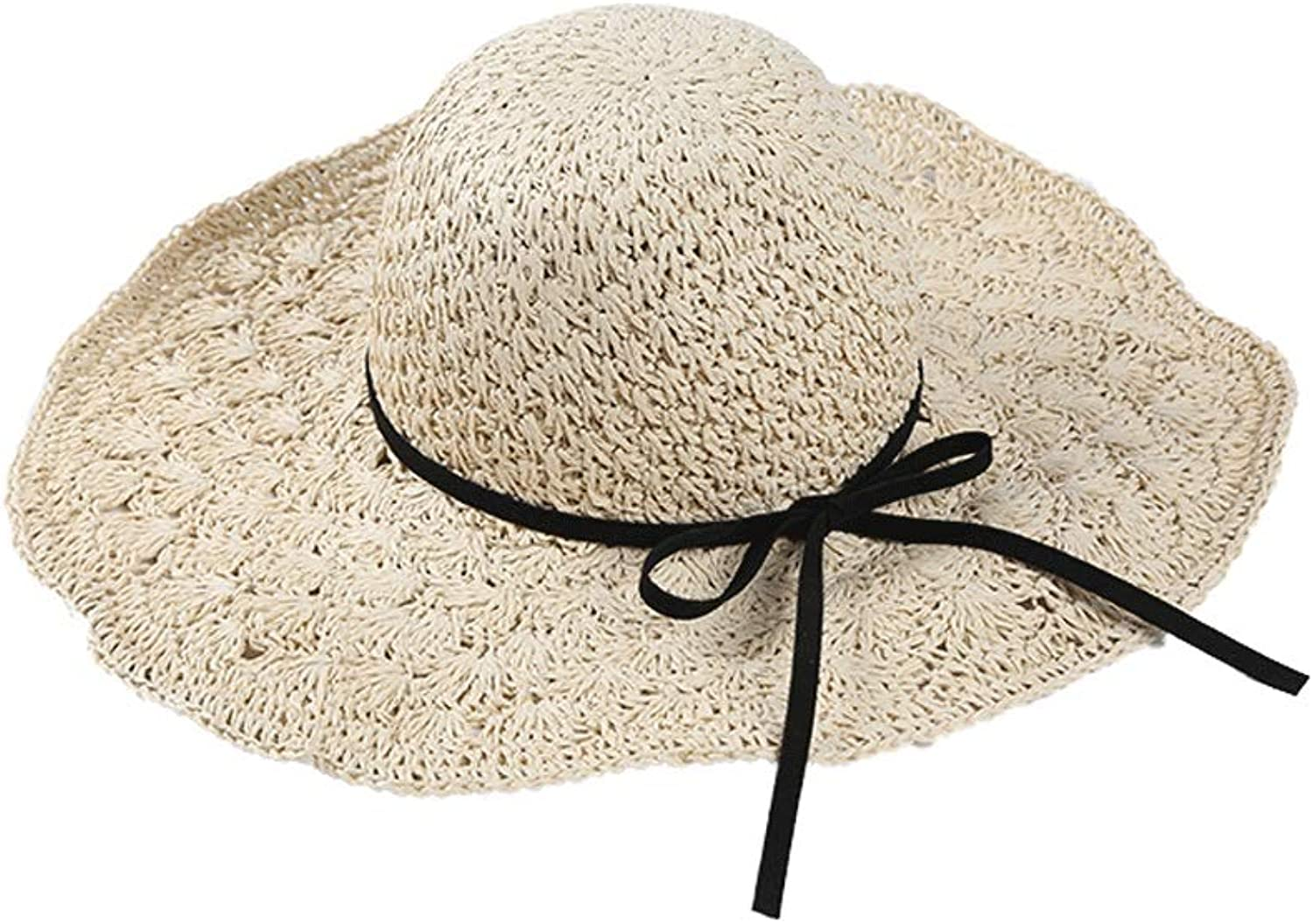YD HatSummer Lady Straw Sun Hat Casual Wild Big Breathable Beach Cap Foldable HandKnitted (5 color Choice)    (color   D)