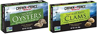 Crown Prince Natural Smoked Oysters in Pure Olive Oil, 3-Ounce Cans (Pack of 18) & Natural Smoked Baby Clams in Olive Oil,...