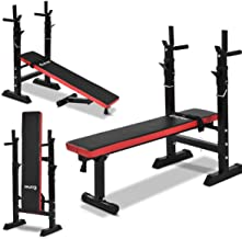 Adjustable Weight Bench, Folding Multi Sit up Workout Barbell Dip Station Lifting Chest Press Gym Exercise Indoor,Colour:Red منظم تخزين الرف 储物架 (Color : Red)