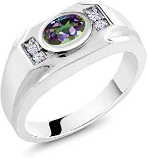 Gem Stone King Green Mystic Topaz White Created Sapphire 925 Sterling Silver Men's Ring 1.76 Ct